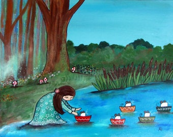 Original Canvas Nursery Wall Art Mouse Boat Adventure Little Girl Painting Whimsical Cute Childrens Room Decor Gift Kids Playroom Artwork