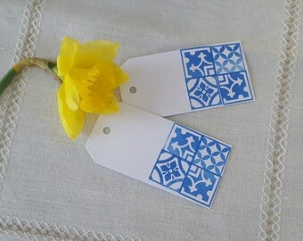 Hand Stamped Portuguese Azulejo Tile Inspired Gift Tags, Pkg of 10
