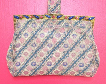Antique 1920s Purse with Rhinestone Frame - Vintage ART DECO Clutch - Lavender Printed Textile
