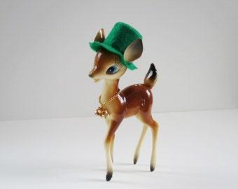Vintage Reindeer Figurine, Kitsch Fawn Deer, St. Paddys Day Reindeer Decoration, Hong Kong Plastic Deer, Retro Deer, 50s Vintage Bambi Fawn