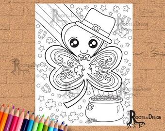 INSTANT DOWNLOAD Coloring Page - St Patrick's Day Four Leaf Clover/ Shamrock Print zentangle inspired, doodle art, printable