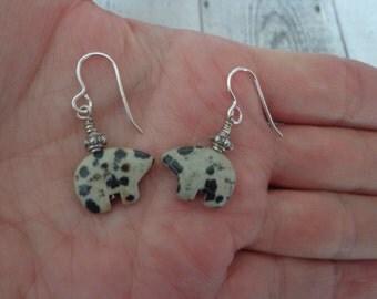 Handmade Sterling Silver Dalmation Jasper Stone Fetish Bear Earrings, Southwestern Theme Earrings