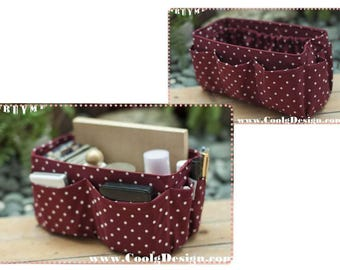 Purse ORGANIZER insert Practical and Easy to Use / Extra Sturdy / Burgundy Polka Dots / Large 25x10cm