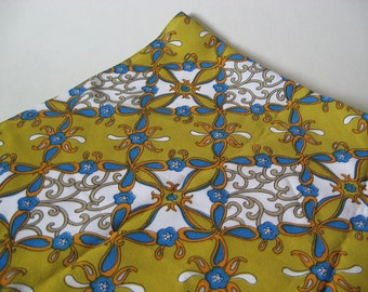 Unique mid century vintage mod floral lattice polyester knit crepe fabric yellow blue white 2 yards