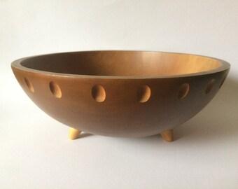 Large Baribocraft Canada vintage teak and maple wood footed salad bowl mod space age design