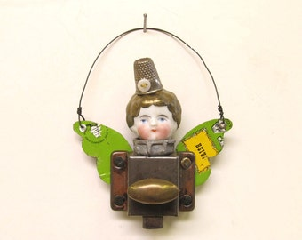 Original Handmade Frozen Charlotte Steampunk Assemblage Art Fairy Latch Ornament