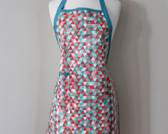 Womens Waterproof Apron Plus Size Apron in Teal and Coral Triangle Print