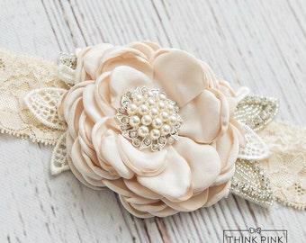 Ivory  vintage rosette baby headband, girl couture headband, lace baby vintage headband, newborn headband,baby headband,Flower girl headband