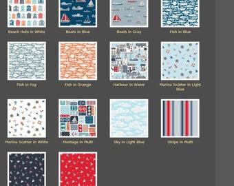 Crib Bedding, Baby Bedding, Toddler Bedding, Marina Fabric by Henley, Blanket, Comforter Crib Skirt, Crib Sheet, Bumper Pads, Sheet, Bumpers
