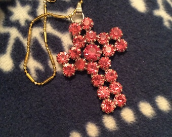 Crystal cross necklace 9 karat gold filled chain pink rhinestone sparkly bling 80s