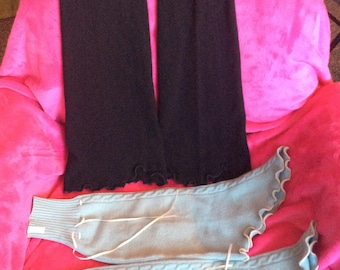 Cashmere arm warmers antique HTF w/satin ribbons/very rare/choose black or blue