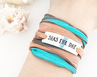 Seas The Day, Beach Jewelry, Beach Bracelet, Silk Wrap Bracelet, Boho Jewelry, Boho Bracelet, Beach Boho, Coastal Jewelry, Sea Jewelry