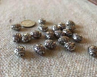Lady Bug Beads Tibetan Silver   (10)