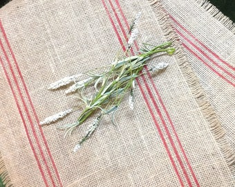 French Striped Burlap Table Runner 12-14 x 72,84 or 96 Cardinal Red Striped Burlap Runner