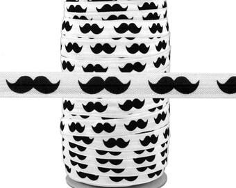 "White w/ Black Mustache - 100 Yard Roll - Fold Over Elastic - 5/8"" Wide Bulk Wholesale FOE"