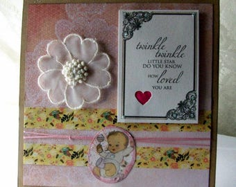 New baby card, Congratulations on your new baby girl card, Newborn baby card, Welcome baby girl card, New baby notecard, Baby shower card