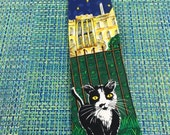 Vintage Mens Addiction Funny Novelty Silk Necktie with Black Cat at the White House- vintage necktie, Addiction necktie, funny cat tie