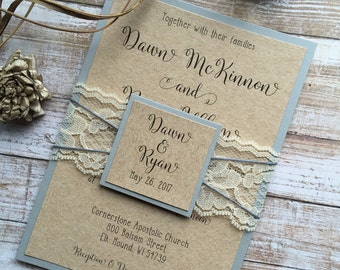 Grey and Ivory Wedding Invitation, Rustic Wedding Invitation, Shabby Chic Wedding Invitations, Lace Wedding Invitations, Grey Wedding