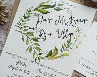 Rustic Wedding Invitation, Leafy Wreath Wedding Invitation, Laurel Wedding Invitation, Kraft Wedding Invitation, Country Wedding