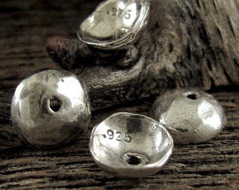 Handcrafted Artisan Domed Bead Caps in Oxidized Sterling Silver - 2 Beads - 9.5mm AC10