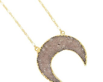 ON SALE SALE!! 50% Off Druzy Crescent Necklace - Natural Light color, Gold Plated druzy crescent, druzy necklace, boho jewelry