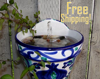 Hand-Painted Pottery SOLAR Wall Hanging Water Fountain - Outdoor Water Fountain- Free Shipping