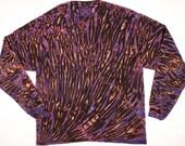 XL  Shibori Men's Long Sleeve Tie Dye T Shirt Hand Dyed Deep Purple Black