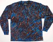 XL  Shibori Men's Long Sleeve T Shirt Violet Blue Black Tie Dye 2
