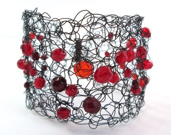 Wide cuff black and red wire crochet bracelet, Red glass beads on black wire, Goth look, Beaded crochet wire arm cuff or wide bracelet
