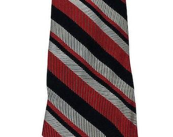 Vintage Bronzini 100% Silk Neck Tie, Diagonal Stripe Retro Neck Tie, Wide Silk Tie, Hipster Tie, Red Gray Black Stripe Tie,Free Shipping