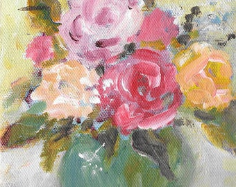 Original acrylic floral painting 5x5 roses in a green vase
