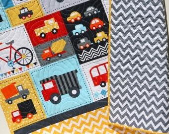Boy Quilt Toddler Bedding Car Vehicles Trucks Cars Bikes Buses Dump Truck Gray Blue Red Yellow Ready Set Go Ambulance Fire Truck Retro