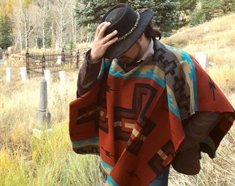 Western Poncho/Serape, Double-Sided Navajo Wrap - Red and Black Large Cross Design