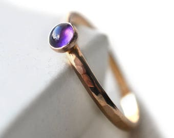 Amethyst Engagement Ring, Personalized 14K Gold Bezel Ring, 4mm Natural Purple Stone, Women's Custom Engraved Solid Gold Promise Ring