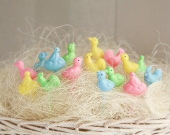 Retro Easter Picks - Miniature Plastic Spring Birds Cupcake and Craft Picks, 16 Pcs.