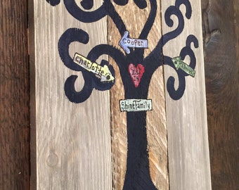Family Tree Handpainted on Shiplap