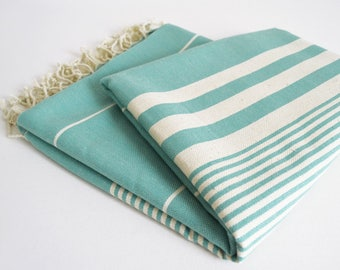 SALE 50 OFF / Turkish Beach Bath Towel / Classic Peshtemal / No10 Pale Turquoise / Wedding Gift, Spa, Swim, Pool Towels and Pareo