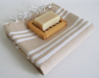 SALE 50 OFF/ Turkish Beach Bath Towel / Classic Peshtemal / Beige / Wedding Gift, Spa, Swim, Pool Towels and Pareo
