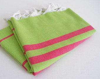 SALE 70 OFF / BathStyle Turkish Beach Bath Towel Peshtemal / Green - Pink / Wedding Gift, Spa, Swim, Pool Towels and Pareo