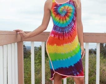 Tie Dye Rayon Tank Dress