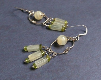Peridot and Quartz Gemstone & Sterling Silver Dangle, Earrings Pale Jade, Ivory, Green