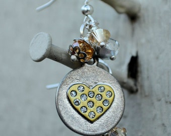 Sparkly Steampunk Heart Earrings-Valentine, Mothers Day, birthday gift, gift idea, stocking stuffer, graduation, prom, anniversary,