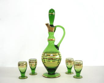 Vintage Glass Decanter Stemmed Glasses Set Emerald Green Gilt Gold Bands Rings Shot Cordial Wine Tasting Liquor Mid Century 1960 Barware