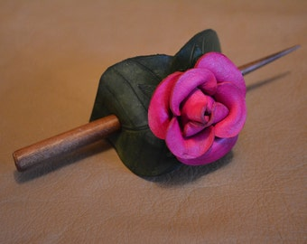 Leather Hair Barrette - Pink Rose