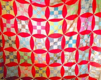 Vintage handmade hand stitched Quilt Top