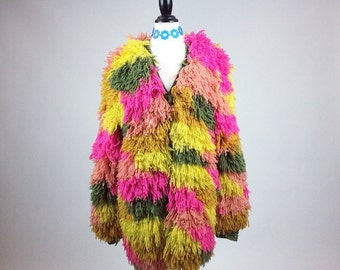 60's Psychedelic Yarn Shaggy Colorblock Pink, Yellow, Orange and Avocado Green Shaggy Carpet Coat // S - L // FREE SIZE