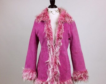 90's Pastel Pink Faux Monster Fur Suede Rave Jacket // M