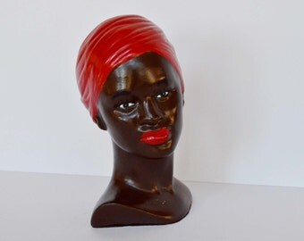 Vintage Chalkware Bust African American Woman 1950s 1960s