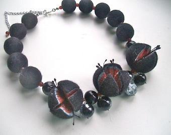 Felted necklace- Black necklace with  glass beads - Handmade- OOAK necklace - Felt necklace with beads