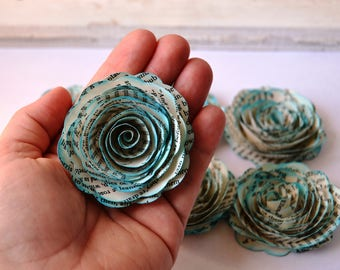 Handmade Music Print Paper Roses with Blue Lagoon Inked Edges